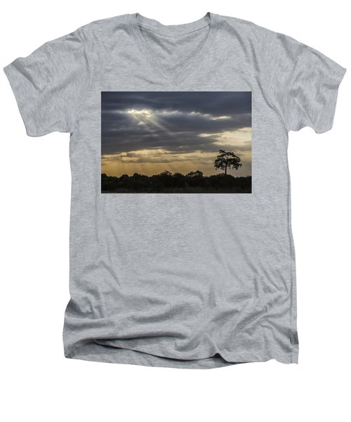 Men's V-Neck T-Shirt featuring the tapestry - textile Sunset Africa 2 by Kathy Adams Clark