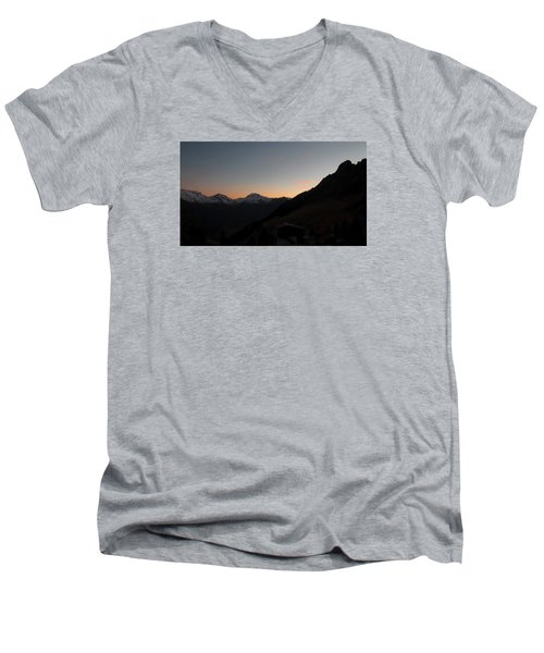 Sunset Afterglow In The Mountains Men's V-Neck T-Shirt by Ernst Dittmar