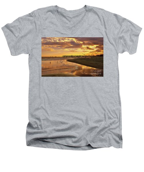 Sunset And Gulls Men's V-Neck T-Shirt by Kathy Baccari