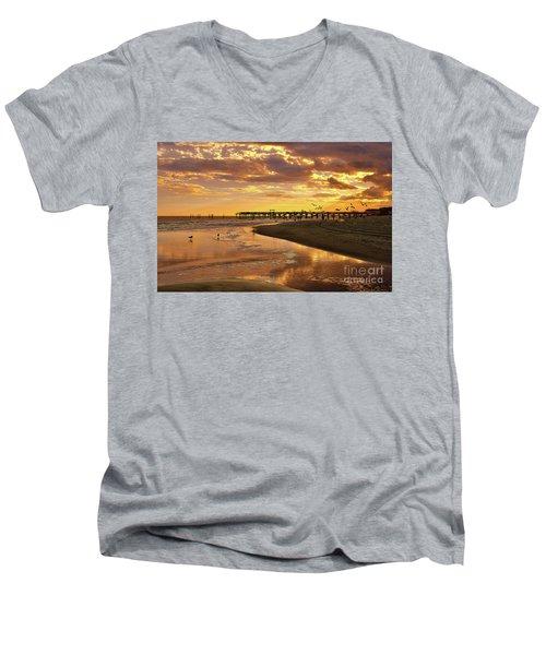 Sunset And Gulls Men's V-Neck T-Shirt