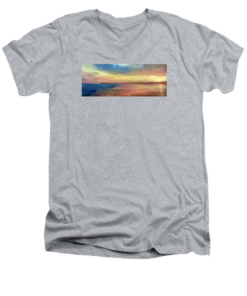 Sunset And Pier Men's V-Neck T-Shirt
