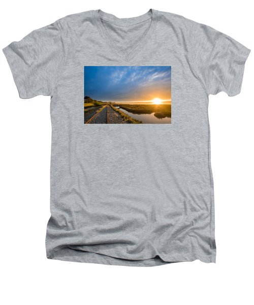 Sunset And Railroad Tracks Men's V-Neck T-Shirt by Greg Nyquist