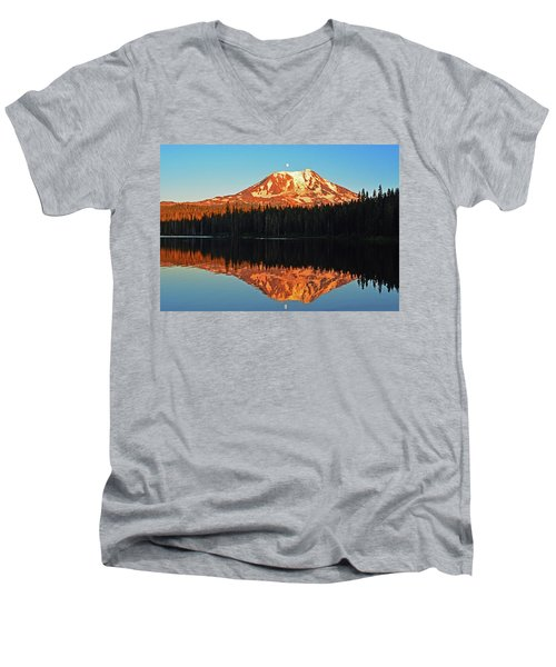 Sunset And Sunrise Mt Adams Men's V-Neck T-Shirt by Jack Moskovita