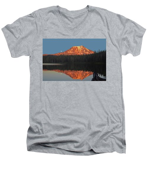 Sunset And Moonrise At Takhlakh Lake Men's V-Neck T-Shirt by Jack Moskovita