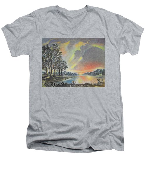 Sunset Angler Men's V-Neck T-Shirt