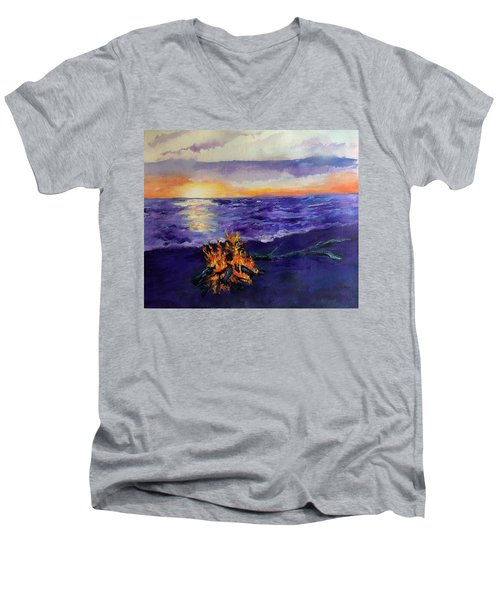 Sunset, Angola On The Lake Men's V-Neck T-Shirt