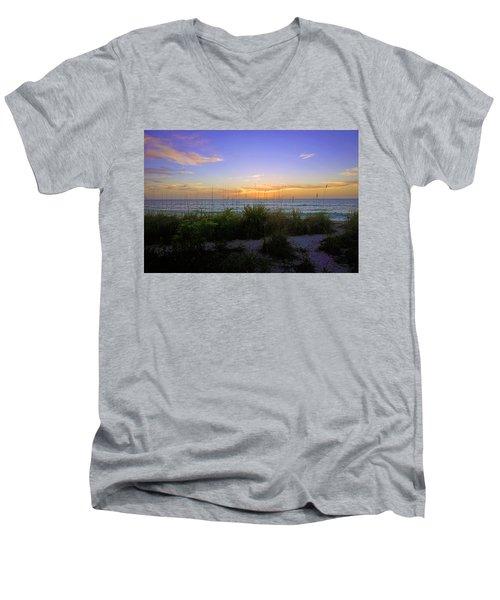 Sunset At Barefoot Beach Preserve In Naples, Fl Men's V-Neck T-Shirt