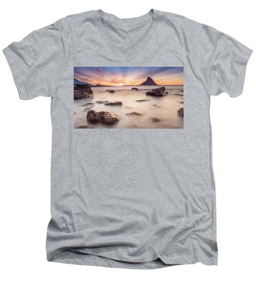 Sunset At Bleik Men's V-Neck T-Shirt
