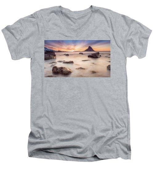 Sunset At Bleik Men's V-Neck T-Shirt