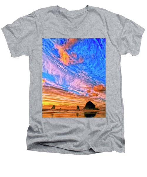 Sunset At Cannon Beach Men's V-Neck T-Shirt