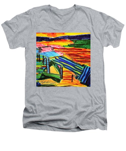 Sunset At Dock Men's V-Neck T-Shirt