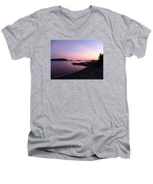 Sunset At Five Islands Men's V-Neck T-Shirt by Joel Deutsch