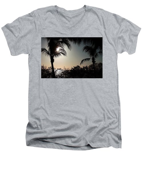 Men's V-Neck T-Shirt featuring the photograph Sunset At Flamingo 1 by Ellen O'Reilly