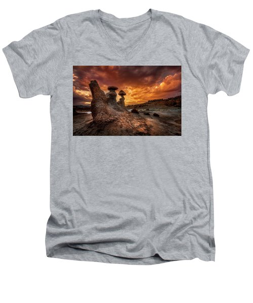 Sunset At Goblin Valley Men's V-Neck T-Shirt