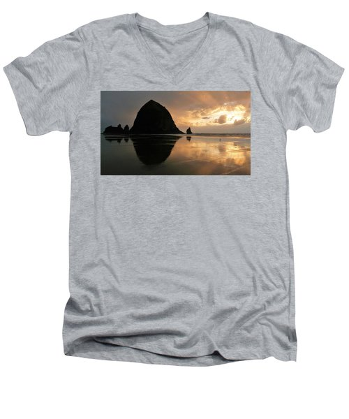 Sunset At Haystack Rock Men's V-Neck T-Shirt
