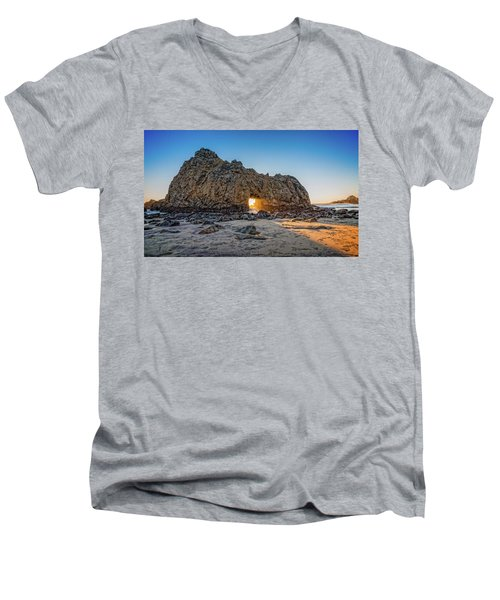 Sunset At Hole In The Rock Men's V-Neck T-Shirt by James Hammond