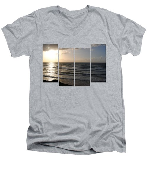 Sunset At Jaffa Beach T-shirt 2 Men's V-Neck T-Shirt by Isam Awad