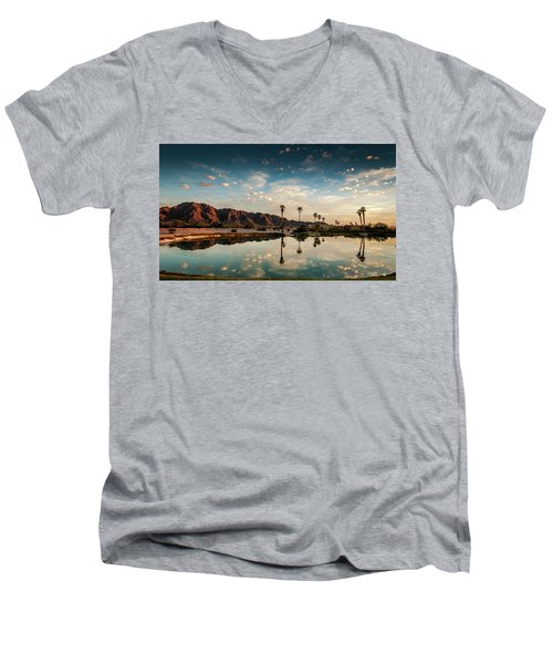 Sunset At Las Barancas Men's V-Neck T-Shirt by Martina Thompson