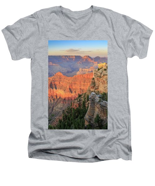 Men's V-Neck T-Shirt featuring the photograph Sunset At Mather Point by David Chandler