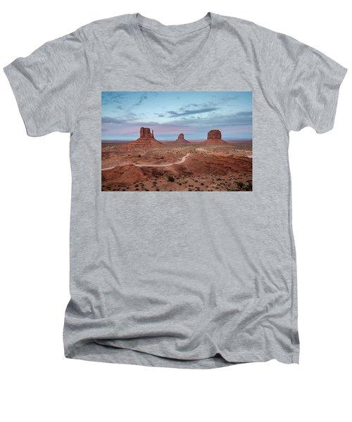 Sunset At Monument Valley No.1 Men's V-Neck T-Shirt