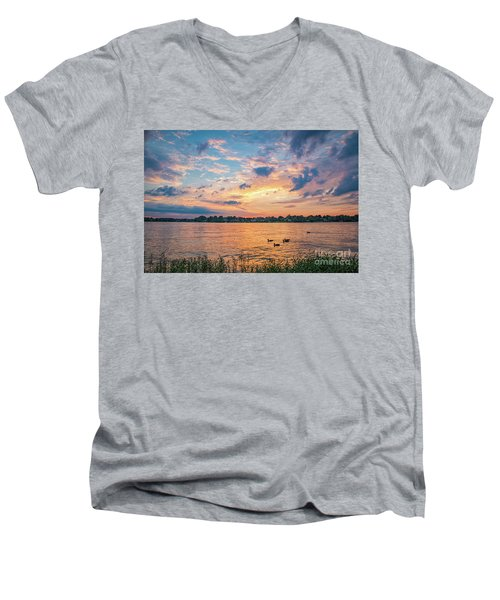 Sunset At Morse Lake Men's V-Neck T-Shirt