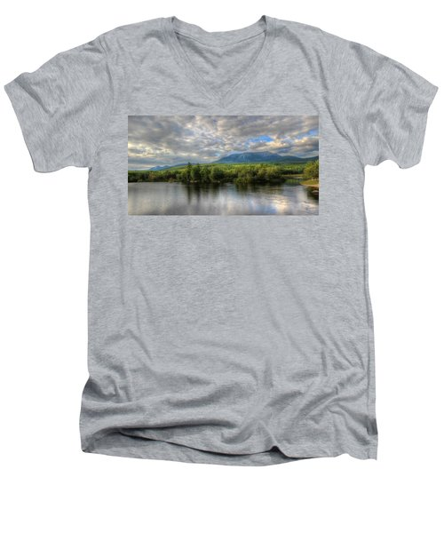 Sunset At Mt. Katahdin Men's V-Neck T-Shirt