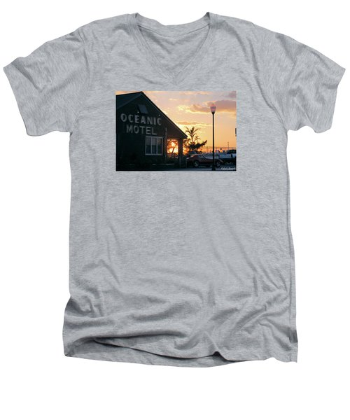 Sunset At Oceanic Motel Men's V-Neck T-Shirt