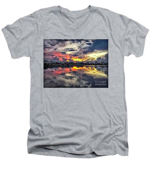 Sunset At Oyster Lake Men's V-Neck T-Shirt by Walt Foegelle