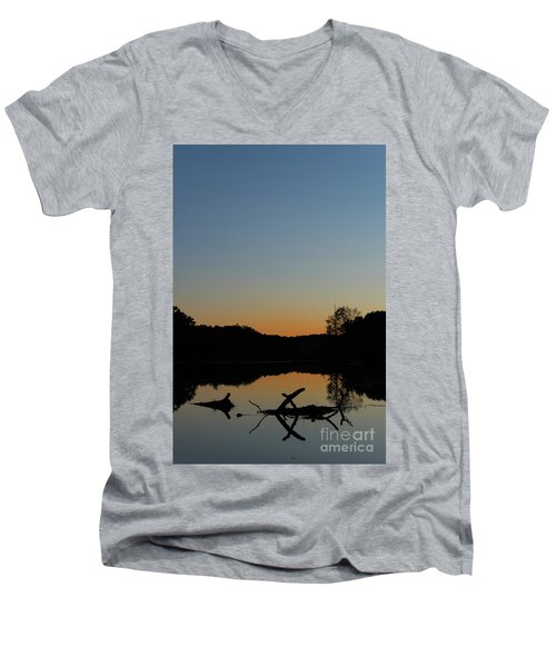 Sunset At Paulinskill Lake Men's V-Neck T-Shirt by Nicki McManus