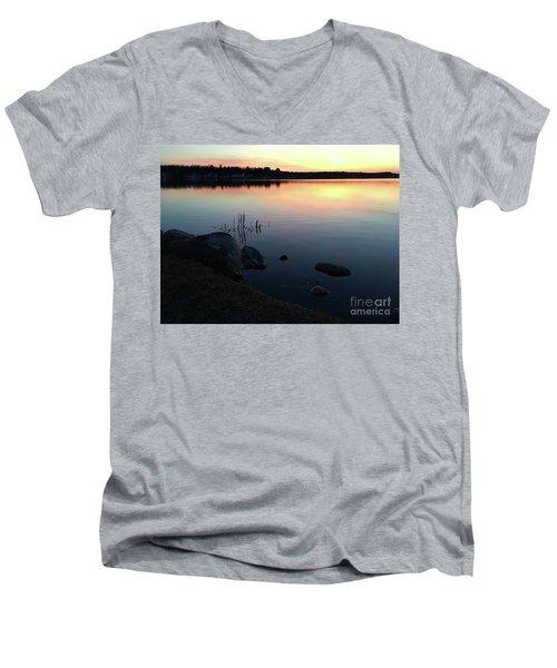 Sunset At Pentwater Lake Men's V-Neck T-Shirt
