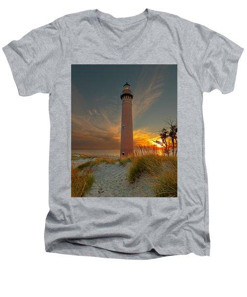 Sunset At Petite Pointe Au Sable Men's V-Neck T-Shirt