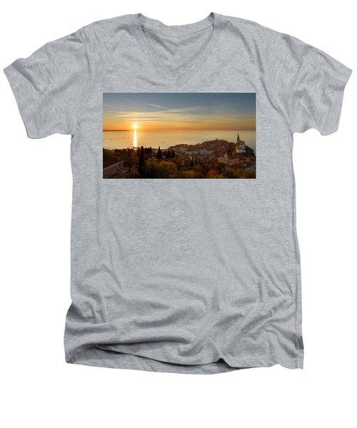 Sunset At Piran Men's V-Neck T-Shirt