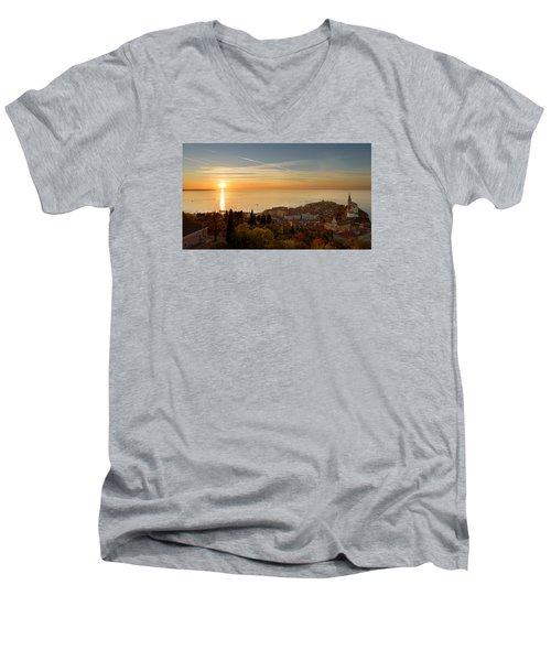 Sunset At Piran Men's V-Neck T-Shirt