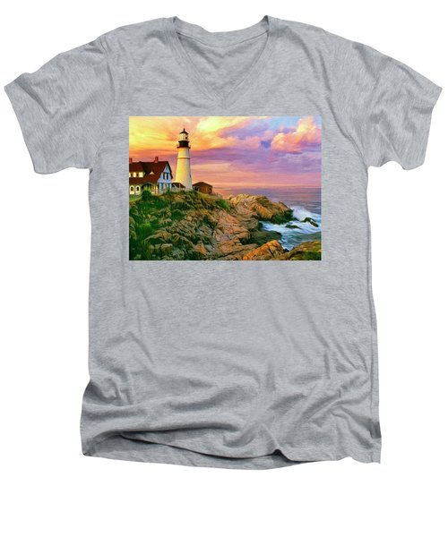 Sunset At Portland Head Men's V-Neck T-Shirt by Dominic Piperata