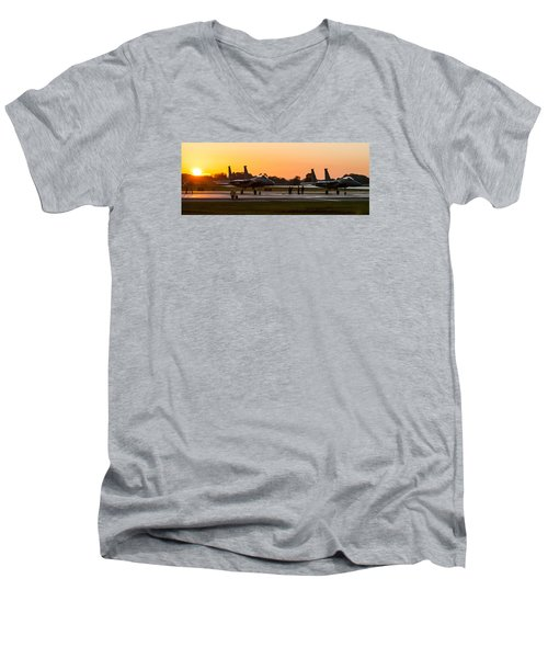 Sunset At Raf Lakenheath Men's V-Neck T-Shirt by Tim Beach