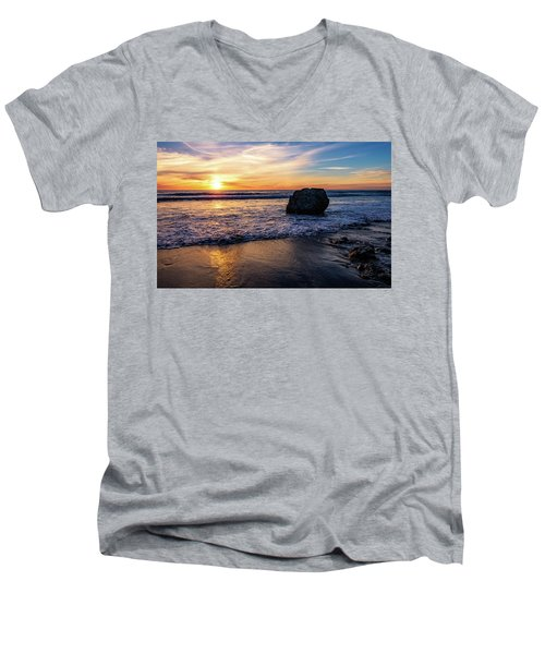 Sunset At San Simeon Beach Men's V-Neck T-Shirt