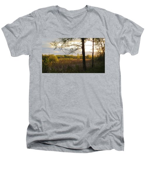 Men's V-Neck T-Shirt featuring the photograph Sunset At Scuppernong II by Kimberly Mackowski