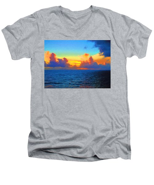 Sunset At Sea Men's V-Neck T-Shirt by Greg Norrell