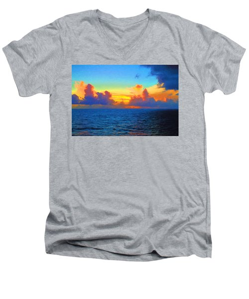 Sunset At Sea Men's V-Neck T-Shirt