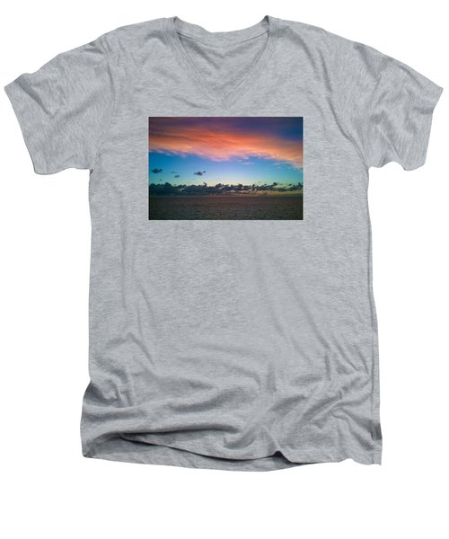 Men's V-Neck T-Shirt featuring the photograph Sunset At Sea by Matthew Bamberg