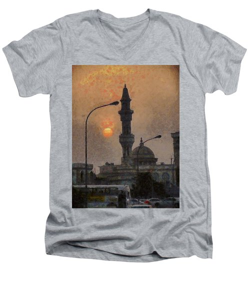 Sunset At Seeb Men's V-Neck T-Shirt