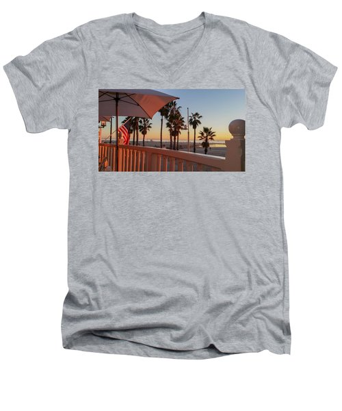 Sunset At Shutters Men's V-Neck T-Shirt by Mark Barclay