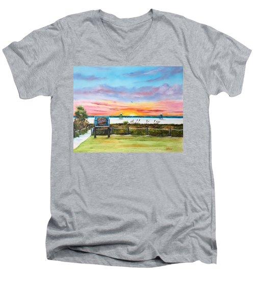 Sunset At Siesta Key Public Beach Men's V-Neck T-Shirt by Lloyd Dobson