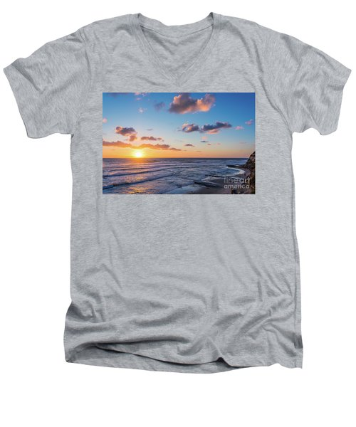 Sunset At Swami's Beach  Men's V-Neck T-Shirt