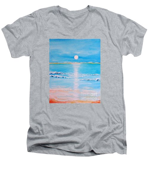Men's V-Neck T-Shirt featuring the painting Sunset At The Beach by Teresa Wegrzyn