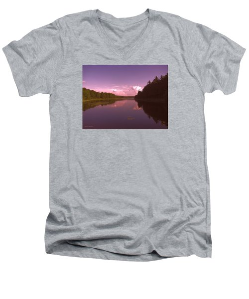 Men's V-Neck T-Shirt featuring the photograph Sunset At The Lake by Debra     Vatalaro