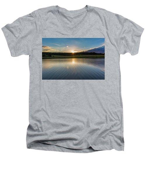 Sunset At The Mandelholz Dam, Harz Men's V-Neck T-Shirt