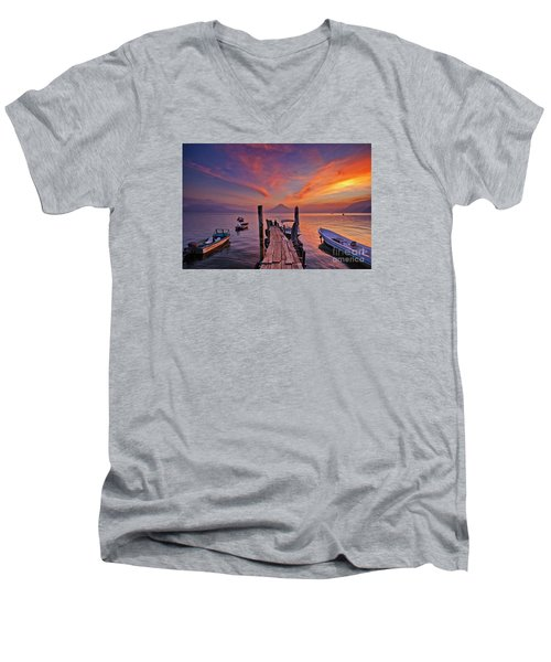 Sunset At The Panajachel Pier On Lake Atitlan, Guatemala Men's V-Neck T-Shirt