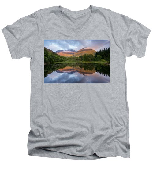 Sunset At Torren Lochan Men's V-Neck T-Shirt