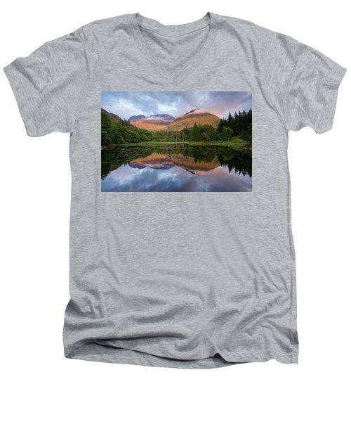 Sunset At Torren Lochan Men's V-Neck T-Shirt